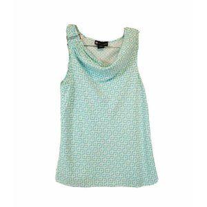 4/$20 Valerie Bertinelli Blue White Sleeveless Rayon Top